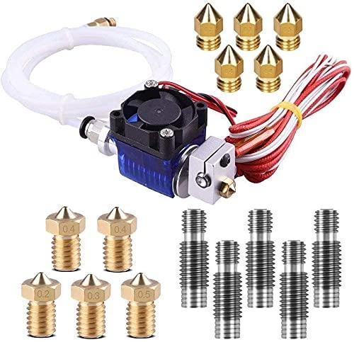 KTZAJO V6 J-Head Hotend Kit completo con 10 cabezales de impresión extrusora + 5 boquillas de acero de 1,75 mm para impresoras 3D V6 Makerbot Reprap
