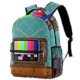 Liangbaiwan Mochila escolar para niñas niños mochila informal bolsa de viaje para senderismo Habitación Retro TV-sedevintage con múltiples bolsillos