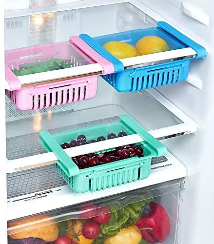 Amazon Brand - Solimo Expandable Fridge Storage Organizer, Set of 3