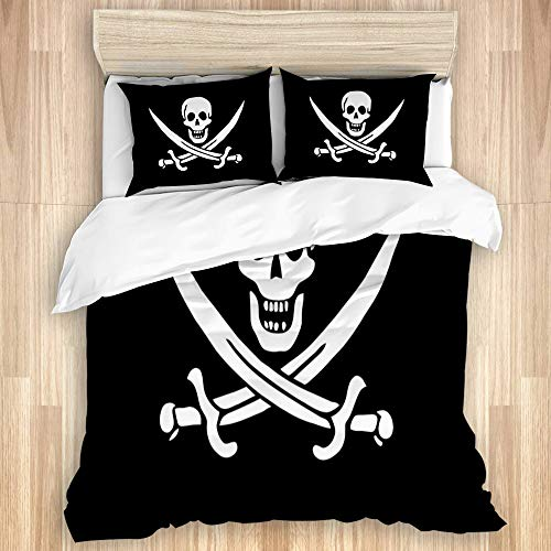 YZBEDSET Bedding Juego de Funda de Edredón,Bandera Pirata Flor Jack,Microfibra Funda de Nórdico y Fundas de Almohada-(Cama 140x200cm)