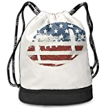 JDHFJ Sac à Cordon Men and Women Travel Backpack Sports Grunge American Flag Themed Stitched Rugby Ball Vintage Design Football Theme Cream Blue Red Multifunctional Bundle Backpack
