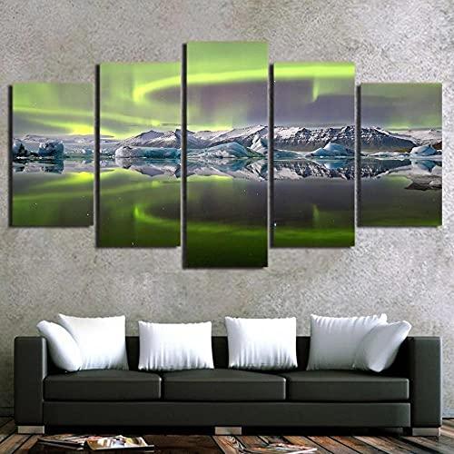 5 Piezas de Arte Marco Cuadros Decoracion Salon Pintura de la montaña del Lago Aurora Moderno HD sobre lienzos impresión Cuadro Usado para Sala Oficina Hogar Decoracion de Pared