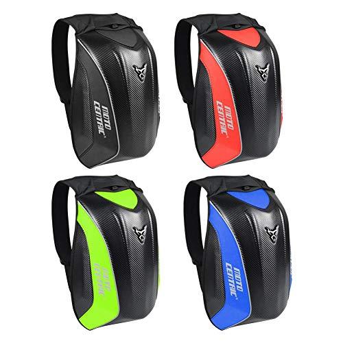 airiver Motorrad Rucksack PVC Carbon-Faser Wasserdicht Verschleißfeste Innere Weich Atmungsaktiv Harte Schale Biker Turtle Rucksack für Damen Herren (Rot Grau Grün Blau)