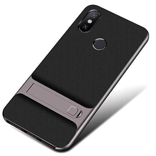 UBERANT Capa Xiaomi Mi A2, leve e fina 2 em 1, moldura de TPU macio e policarbonato rígido com função de suporte, antiderrapante, à prova de choque, capa protetora para Xiaomi Mi 6X/Mi A2 6 polegadas, cinza