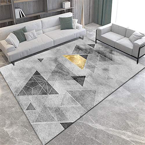 Alfombras alfombras habitacion Alfombra Lavable con diseño geométrico Gris Negro Amarillo fácil de Limpiar alfombras Dormitorio Habitaciones Juveniles 60*160CM