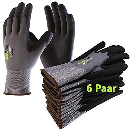 Gentle Monkey 6Paar Arbeitshandschuhe Nitril beschichtet Schutzhandschuh Ergonomisches Design Gartenhandschuhe Montagehandschuhe für Damen und Herren mit hervorragenden Griff Bauhandschuhe (9/L)