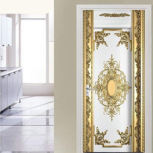 Zjxxm Self-Adhesive Door Sticker European Style Luxury Gold Carvings Wallpaper Living Room Bedroom Poster Mural PVC Waterproof Sticker-77cmx200cm