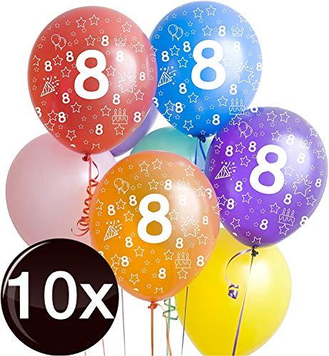 TK Gruppe Timo Klingler 10x Bunte Luftballons Zahl 8 - Ø 35 cm, Luft & Helium, Geburtstage, Party für Mädchen, Jungen, Zahlenballons, Zahlenluftballon acht (Zahl 8)