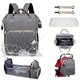 3 in 1 Diaper Bag Backpack Baby Nappy Storage Backpacking Sleeping Travel Bag Portable Crib Foldable Multifunction Waterproof (gray3)