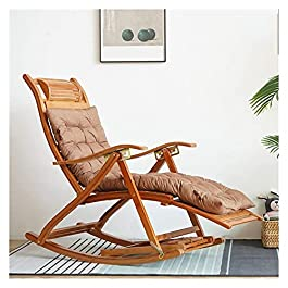 Fauteuil à Bascule,Chaise à Bascule Chaise en rotin à Bascule,Fauteuil de détente Pliant, Bambou chaises Longues,Rocking…