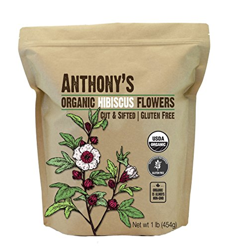 Anthony's Organic Hibiscus Flowers, 1 lb, Cut & Sifted, Gluten Free, Non GMO, Non Irradiated, Keto Friendly