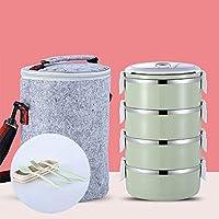 積み重ね可能なステンレススチールランチボックスとランチバッグ,漏れ 大人のための食器付きサーマルフード貯蔵容器-l 25.5x14.8cm(10x6inch)