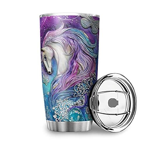 Facbalaign Botella deportiva de acero inoxidable con diseño de unicornio, 600 ml, color blanco