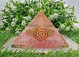 Amazing Gemstone Rose Quartz Orgone Pyramid - Orgonite Pyramids with Glow in The Dark Angel, Large Organite Pyramid for EMF Protection (70mm)