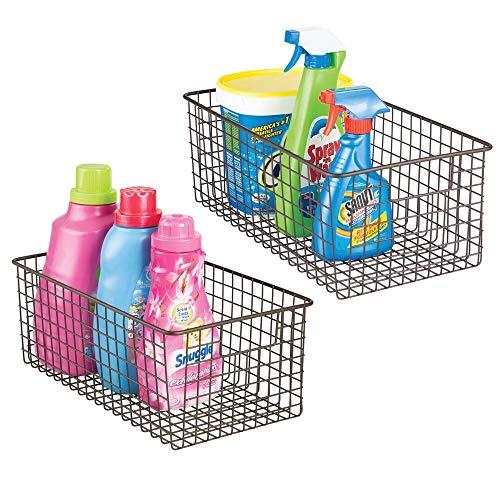 mDesign Juego de 2 cestas metálicas para productos de limpieza – Prácticas cestas organizadoras de metal – Organizadores de armarios y estantes para el lavadero – color bronce