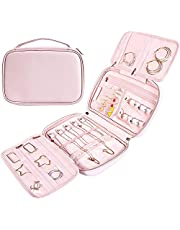 Jewelry Travel Case, Jewelry Organizer Bag Portable, Jewelry Storage Organizer Bag for Earrings, Necklace, Rings and More, Small- light Pink