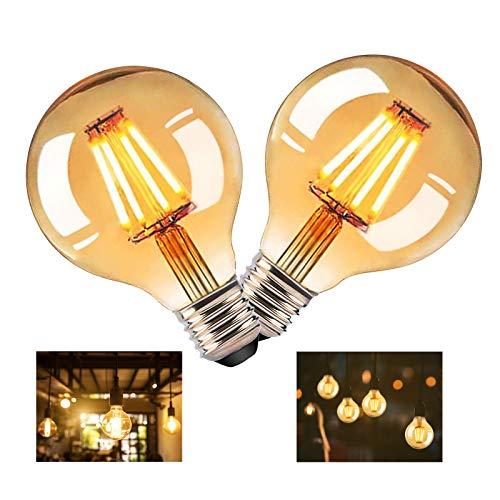 RANJIMA G80 Edison - Bombilla LED redonda vintage E27, bombilla LED de luz cálida antigua, decorativa, ideal para los nostálgicos, decoración de la casa, cafetería, bar, 2 unidades