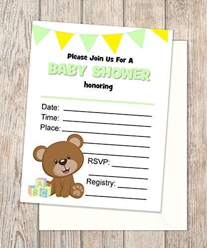 Teddybear 100% quality warranty Baby Shower Bombing new work Invitations Fill Cards In Set Blank Flat