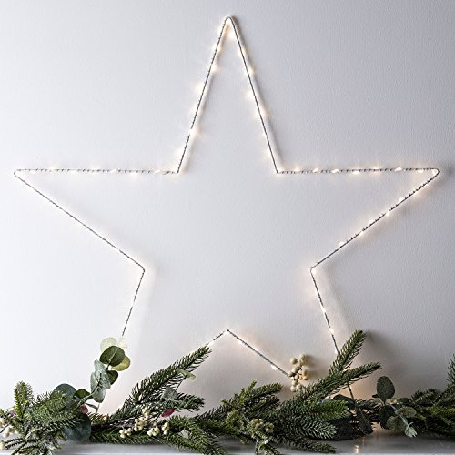 Lights4fun Large Osby Star Window Light Battery Operated Micro Warm White LED