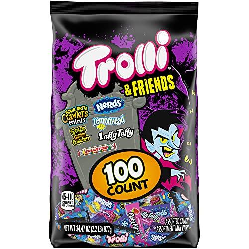 Trolli & Friends Halloween Candy Trick or Treat Variety Mix, 100ct (Trolli, Nerds, Lemonhead, Laffy Taffy, Smarties)
