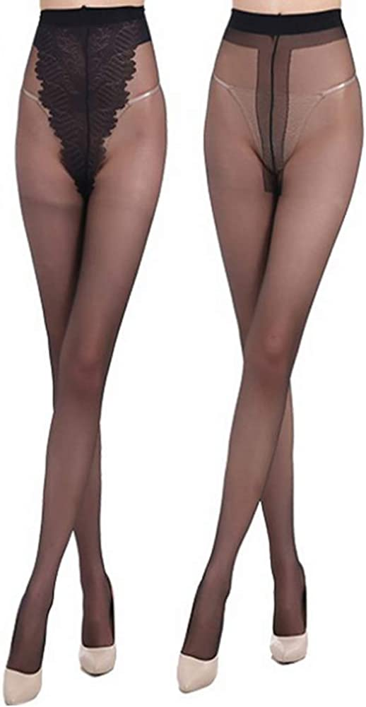 2 Pairs Women's 80D/20D Semi Opaque Microfiber Stretchy Stocking Footed Pantyhose Tights