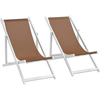 mewmewcat Set di 2 pz Sedia Sdraio Pieghevole in Alluminio,Sdraio da Giardino,Sedie da Spiaggia Pieghevoli 2 pz Alluminio e Textilene Marrone