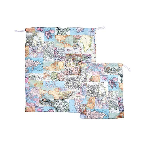 Sass & Belle Vintage Map Travel Laundry Bags - Set of 2