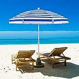 MOVTOTOP Beach Umbrella, 6.5ft Sand Anchor with Tilt Aluminum Pole, Portable UV 50+ Protection Beach Umbrella with Carry Bag for Outdoor Patio Blue/White