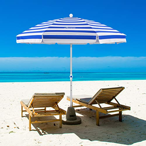 MOVTOTOP Beach Umbrella, 6.5ft Sand Anchor with Tilt Aluminum Pole, Portable UV 100+ Protection Beach Umbrella with Carry Bag for Outdoor Patio Blue/White
