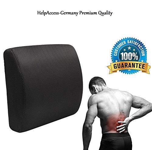 HelpAccess Ergonomisches Rücken Kissen aus Memory Schaum, Perfekt für Bürostuhl und Auto Orthopädisches Rückenkissen für Bequeme Sitzhaltung im Alltag für Büro & Zuhause, gesunde Sitzhaltung.