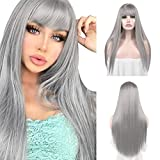 Sofeiyan 26 inches Long Straight Wig with Bangs Silver Gray Synthetic Hair Replacement Wigs Heat Resistant Full Wig for Women Girls