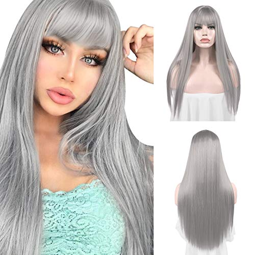 Sofeiyan 26 inches Long Straight Wig with Bangs...