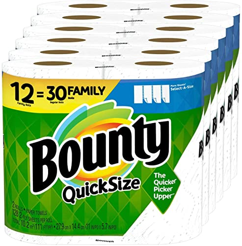 Quick-Size Paper Towels, 12 Family Rolls = 30 Regular Rolls (1 Pack)