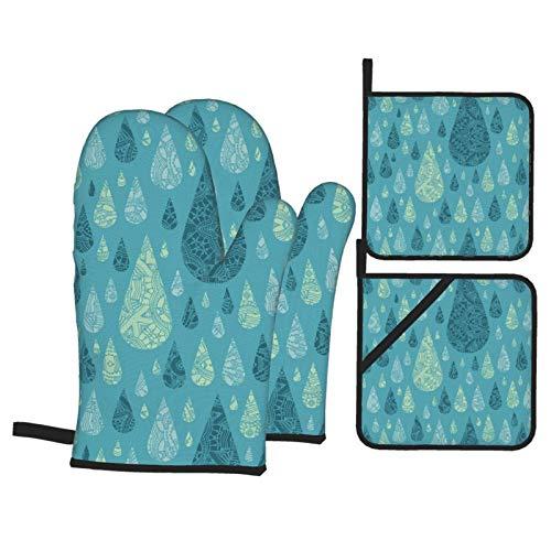 IUBBKI Boho Style Drops Ofenhandschuhe und Topflappen-Sets Hitzebeständige Küche Wasserdicht mit innerer Baumwollschicht zum Kochen BBQ Backen, 4er-Set (4 Stück Küchensets)
