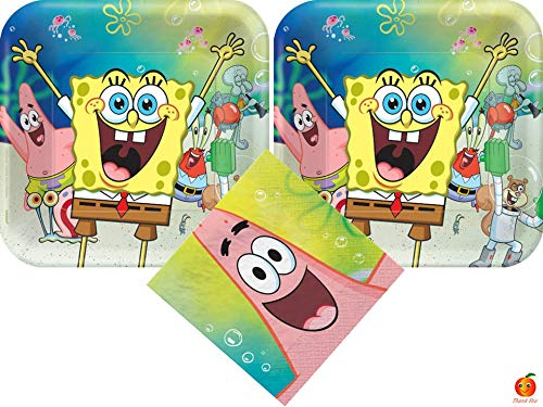 SpongeBob Party Supplies Bundle with Luncheon Plates and Napkins for 16 Guests