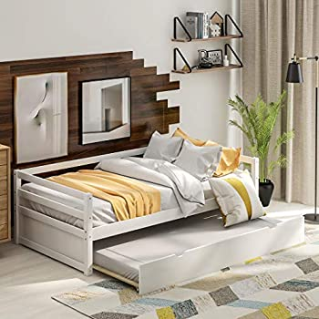 Twin Size Daybed with Trundle Bed Frame Set 2 in 1 Wooden Bed Frame with Full Length Guardrails&Casters Captains Bed for Kids &Adult 10 Slats for Strongly Support No Box Springs Needed  White