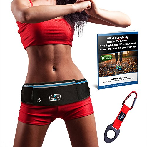 RunningBeltMax Running Belt Waist Pack - Waterproof Fanny Pack for iPhone, Samsung Galaxy, Android - 3 Pockets, Black