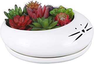 Koolkatkoo 8 Inch Cat Succulent Planter White Large Cute Ceramic Flower Pot with Removable Tray Planter for Cat Lovers