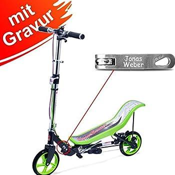 Space Scooter X 590 Premium grün MIT Gravur - für Kinder und Erwachsene bis 120 kg mit 3-Stufen Höhenverstellung - inkl. Namensgravur - SpaceScooter Wipproller X590 Green mit Namen