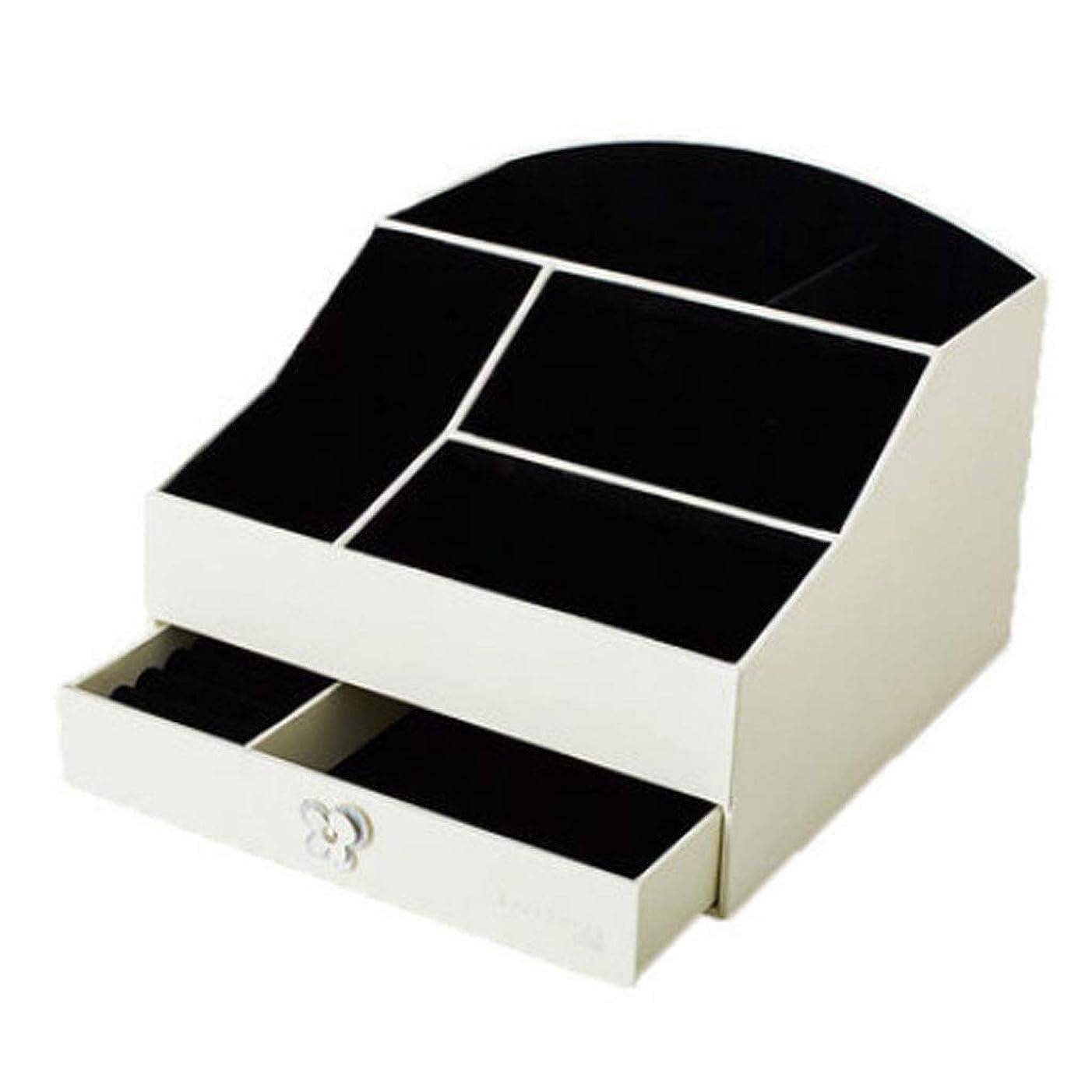 十分ではないホラー確かな化粧品ケース女の子のための最高の贈り物クリエイティブデスクトップ化粧品収納ボックスホワイトレザー収納化粧化粧箱引き出し付き (Color : WHITE, Size : 24.5X24.5X19CM)