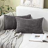 Miulee juego de 2 funda de cojín fundas de almohada suave decorativa cuadrado pana granulado poliéster para hogar sofá silla cama sala de estar dormitorio30x50cm 2 piezas gris