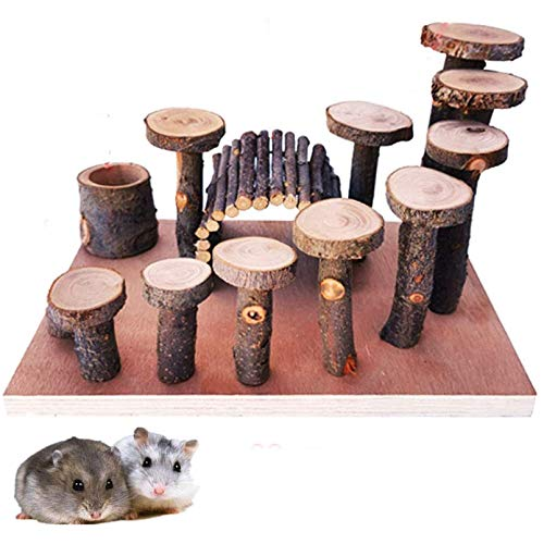 Hamiledyi Hamster Natural Living Climb System Rat Playground Activity Set Platform with Wood Bridge/Food Bowl/Tunnel/Ladders Play Toys Natural Hideout for Mouse,Gerbil, Small Animals
