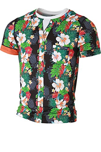 The Freisein Project Kurzarm Base-Layer Funktions-Shirt The Duke im coolen Magnum Hawaii-Hemd Style (Herren)