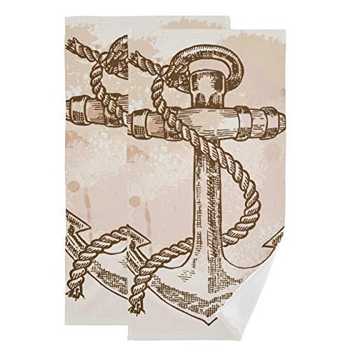 Juego de 2 Toallas de Mano para baño Art Anchor Icon Toallas simbólicas para baño Toalla de Playa Absorbente Suave de Secado rápido Adecuada para baño, Cocina, Inodoro, Playa