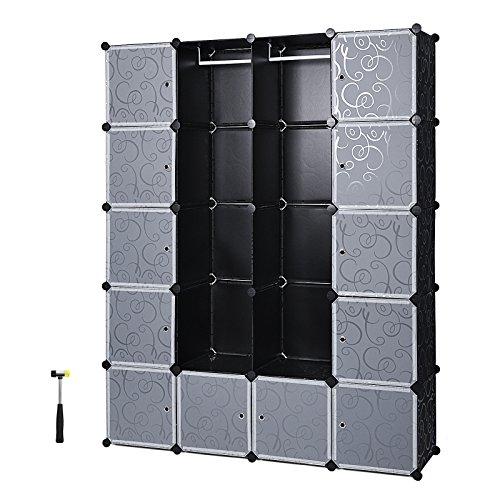 SONGMICS Garderobe Kleiderschrank Mit 2 Kleiderstange, modularer Kombischrank, platzsparendes Steckregalsystem, 143 x 36 x 178 cm, schwarz LPC30H
