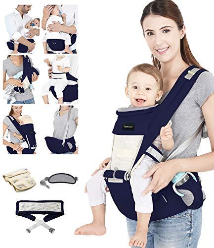 Azeekoom Marsupio Neonati, Porta Bebè Ergonomico con Cinghia di Fissaggio, Bavaglini, Tracolla, Cappuccio della Testa per Appena Nato al Bambino 0-36