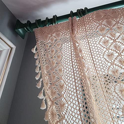FQDSWS Retro Boho Chic Beige Crochet tejiendo Cortinas escarpadas para la Cocina Hueco salón Villa café Patio Borla decoración de la Boda (Color : Hook(Rod Pocket), Tamaño : 1pcs W150xH180 cm)