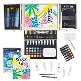 Conda - Set professionale con strumenti da disegno, in valigetta portatile in legno, 93 pe...
