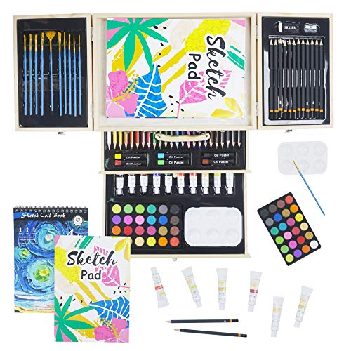 Conda - Set professionale con strumenti da disegno, in valigetta portatile in legno, 93 pezzi, per principianti, artisti, ragazzi e adulti