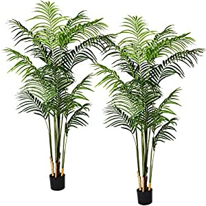 Silk Flower Arrangements Artiflr 2Pack 5.5 Feet Artificial Areca Palm Plant Fake Palm Tree with 15 Detachable Trunks Faux Tropical Plant Tree for Indoor Outdoor Modern Decoration in Pot for Home Office Perfect Housewarming